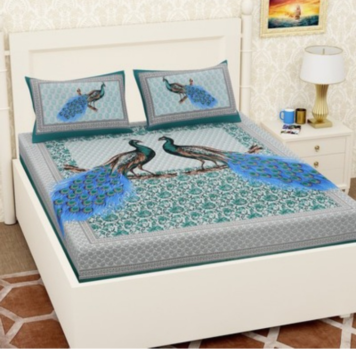 Vaishnavi cotton printed double bed sheet with pillow cover