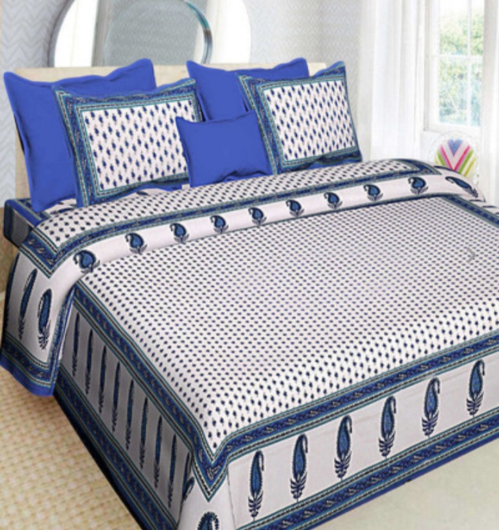 Cotton printed double bedsheet with pillow cover