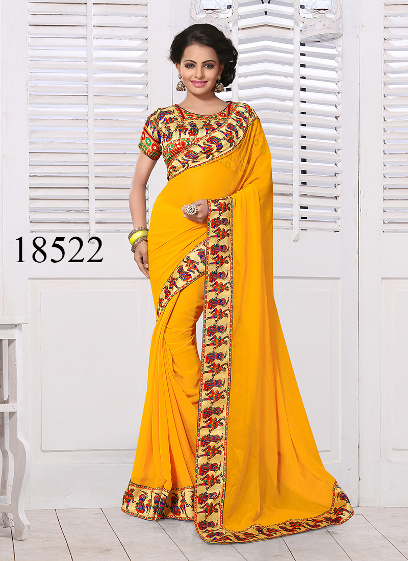 Viva N Diva Yellow Colored Georgette Saree.