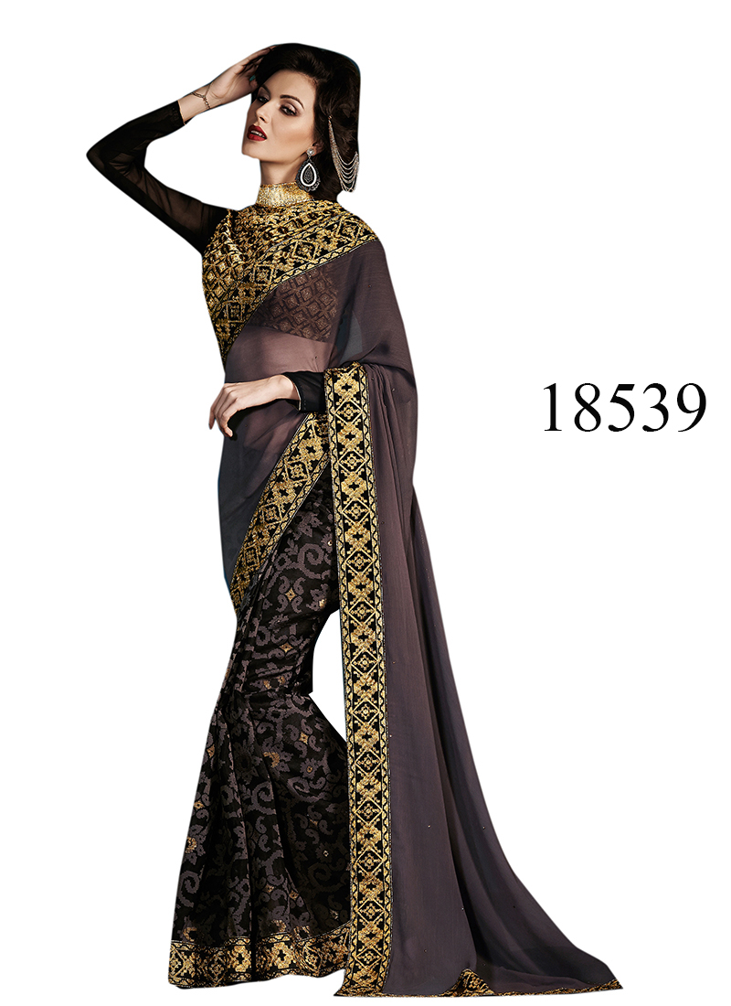 Viva N Diva Black & Grey Color Georgette & Brasso Saree.