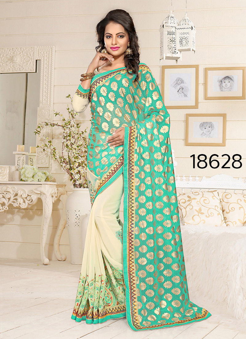 Viva N Diva Green And Beige Colored Lycra And Georgette Saree.