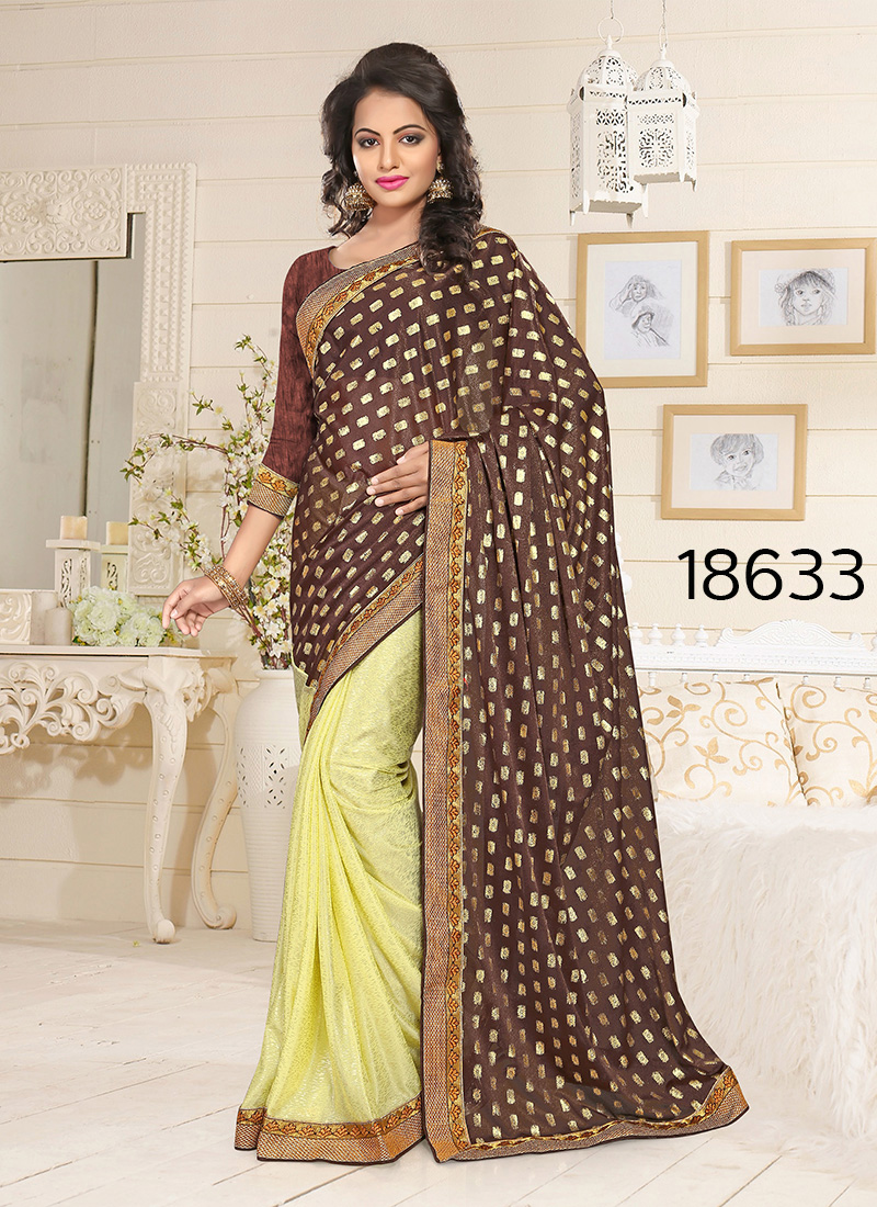 Viva N Diva Brown And Yellow Colored Lycra Saree.