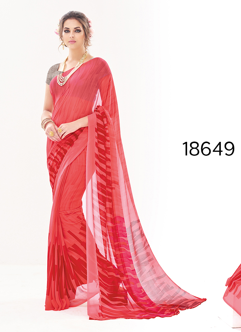 Viva N Diva Peach Colored Pure Georgette Saree.