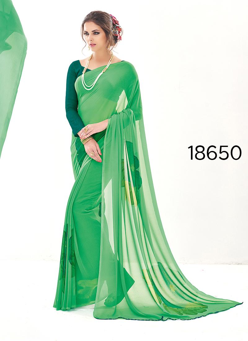 Viva N Diva Green Colored Pure Georgette Saree.