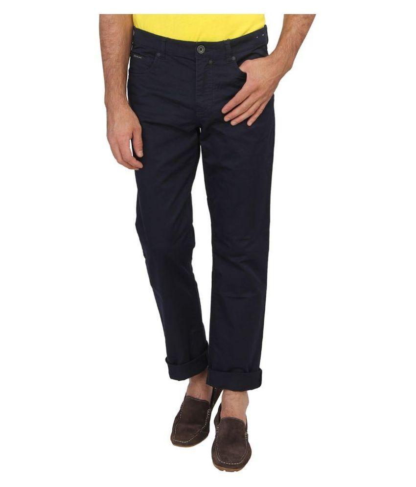 Seasons Navy Slim Fit Solid Jeans