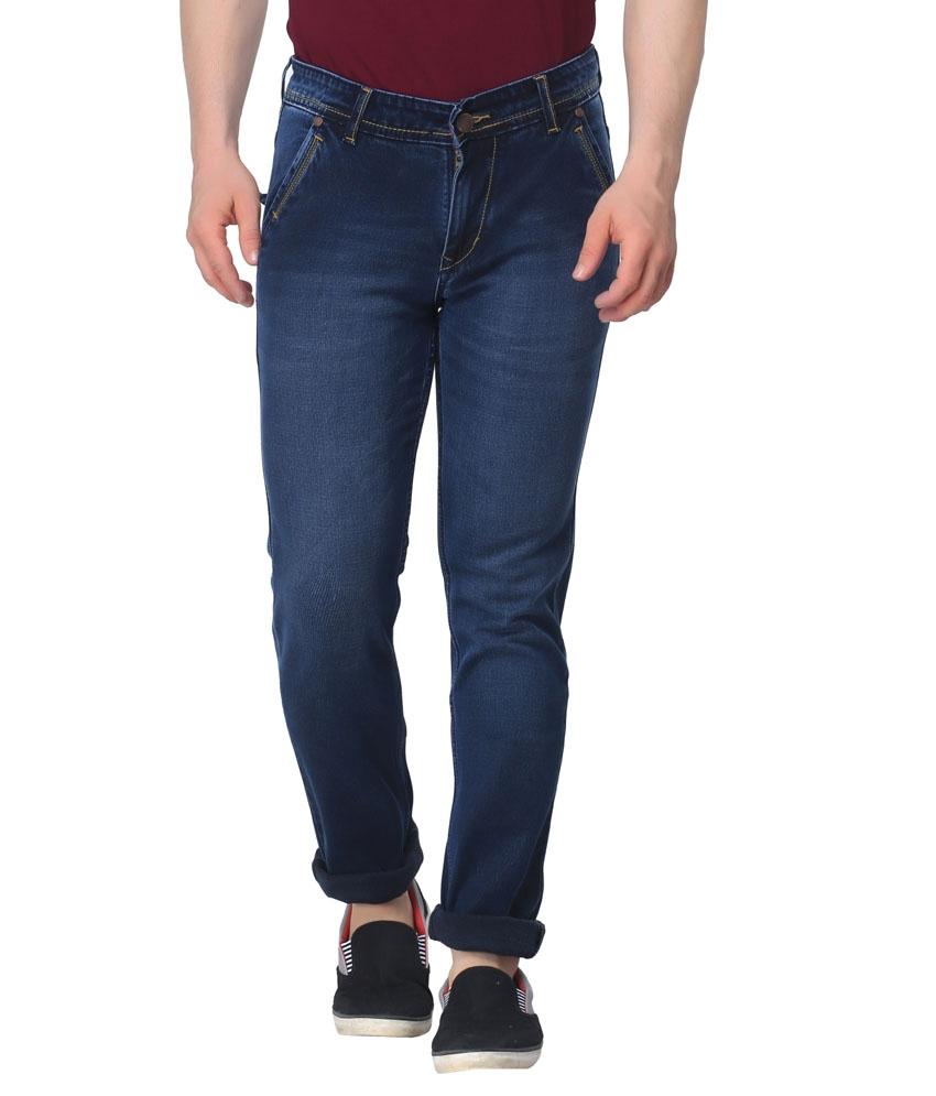 Seasons Navy Blue Cotton Blend Slim Fit Jeans