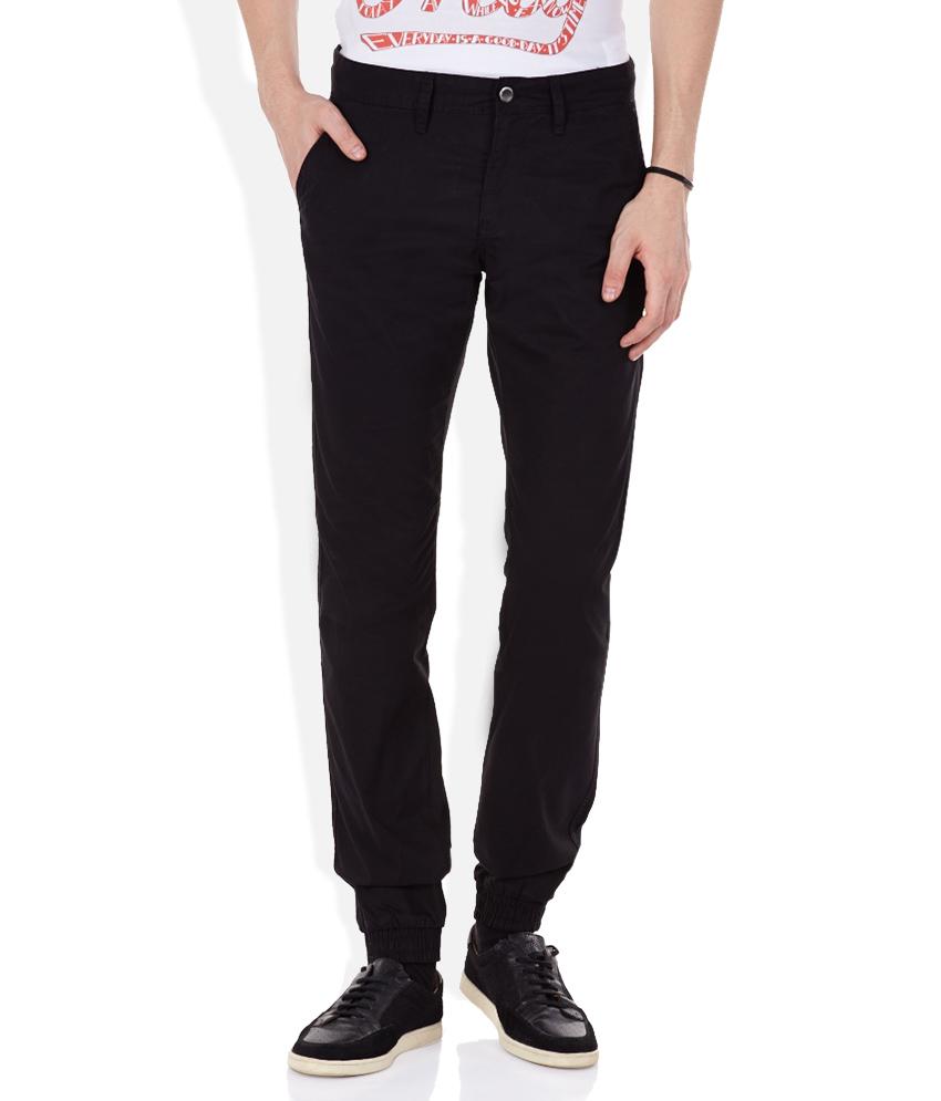 Seasons  Black Cotton Blend Slim Fit Formal Trouser