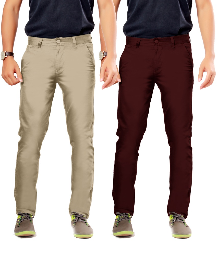 Khaki Cotton Slim Casuals Chinos - Pack Of 2