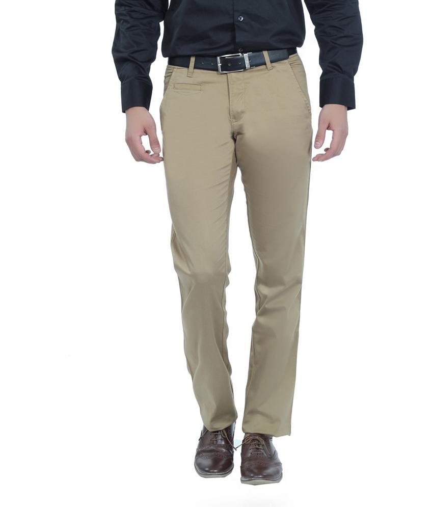 Khaki Cotton Slim Fit Casual Chinos