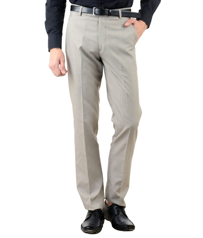 Beige Slim Fit Flat Trousers Single