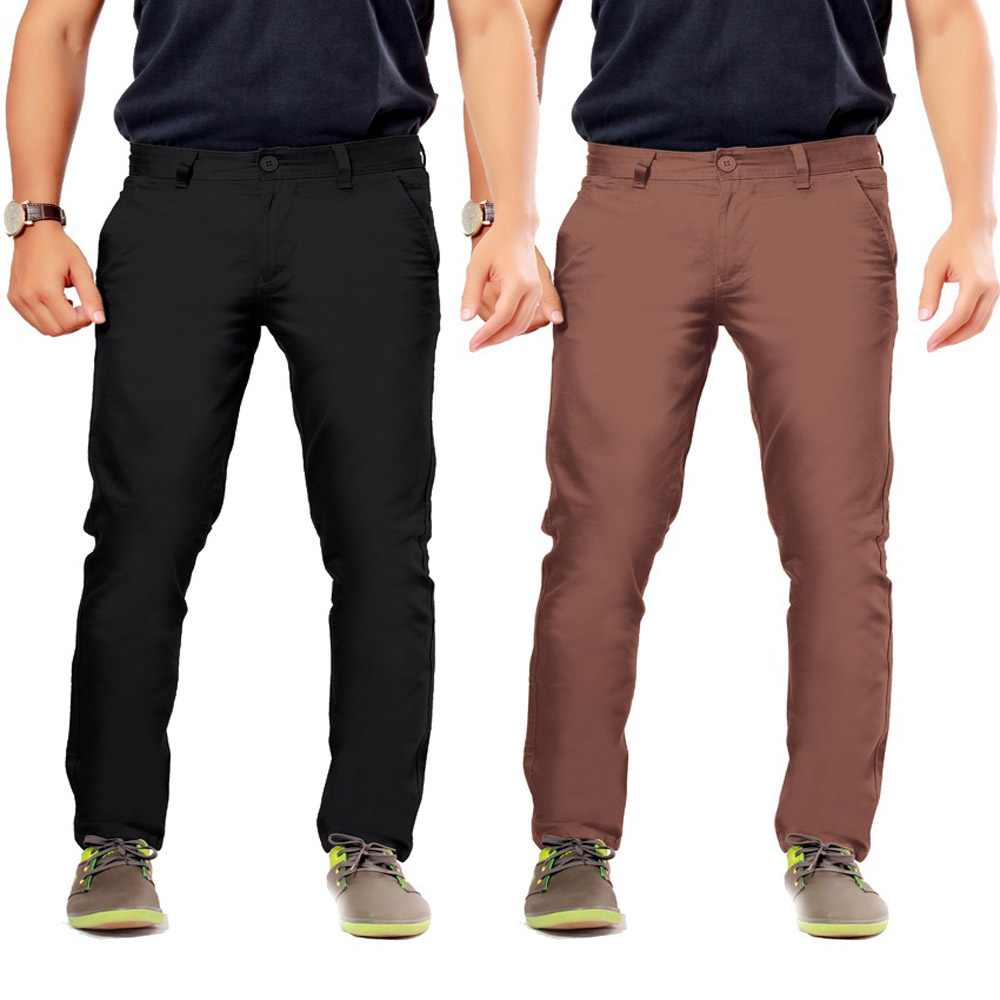 Black Cotton Slim Casuals Chinos - Pack Of 2