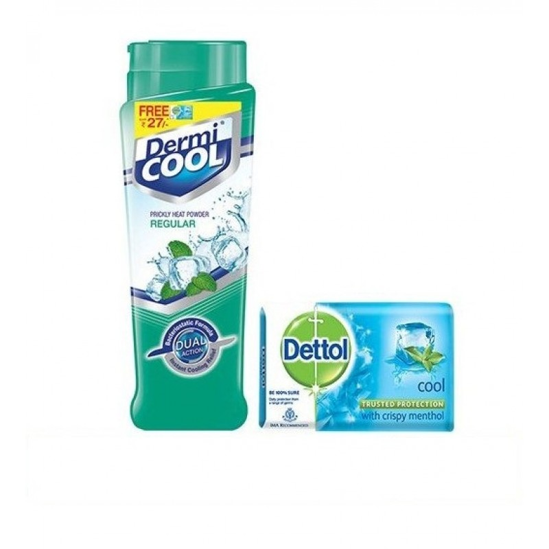 Dermicool Regular Powder With Dettol Cool Soap Free Worth Rs28